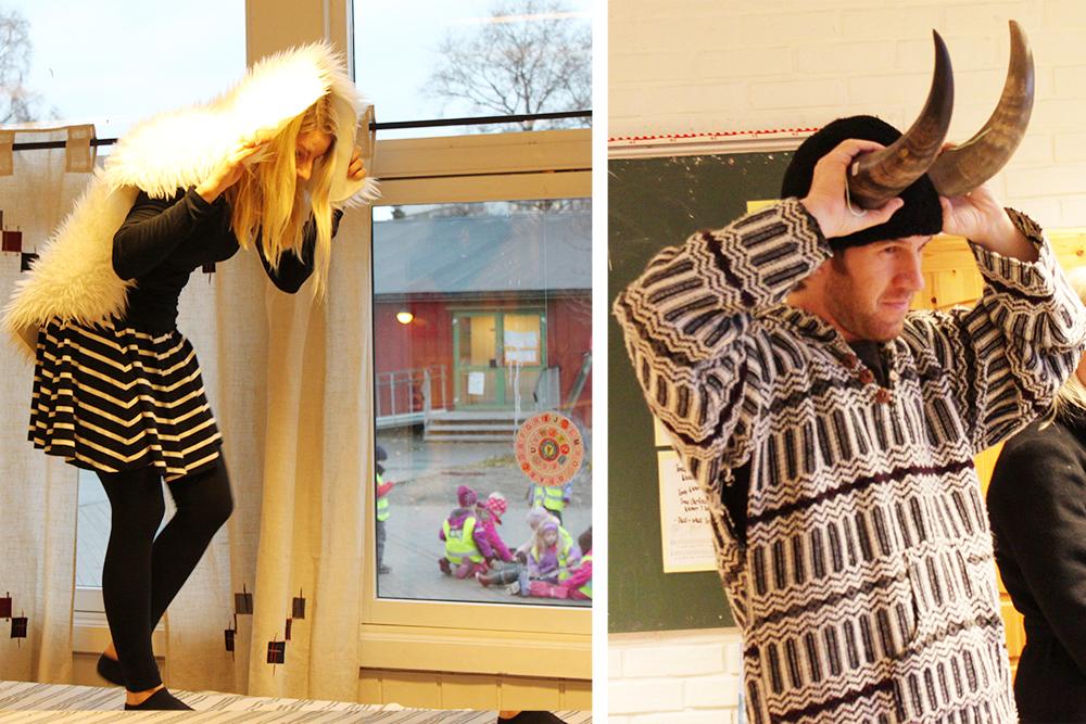 Lærere dramatiserer eventyret «Bukkene Bruse».