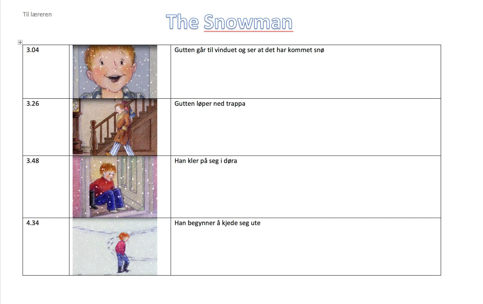 Skjermdump av skriveramme til filmen «The Snowman»