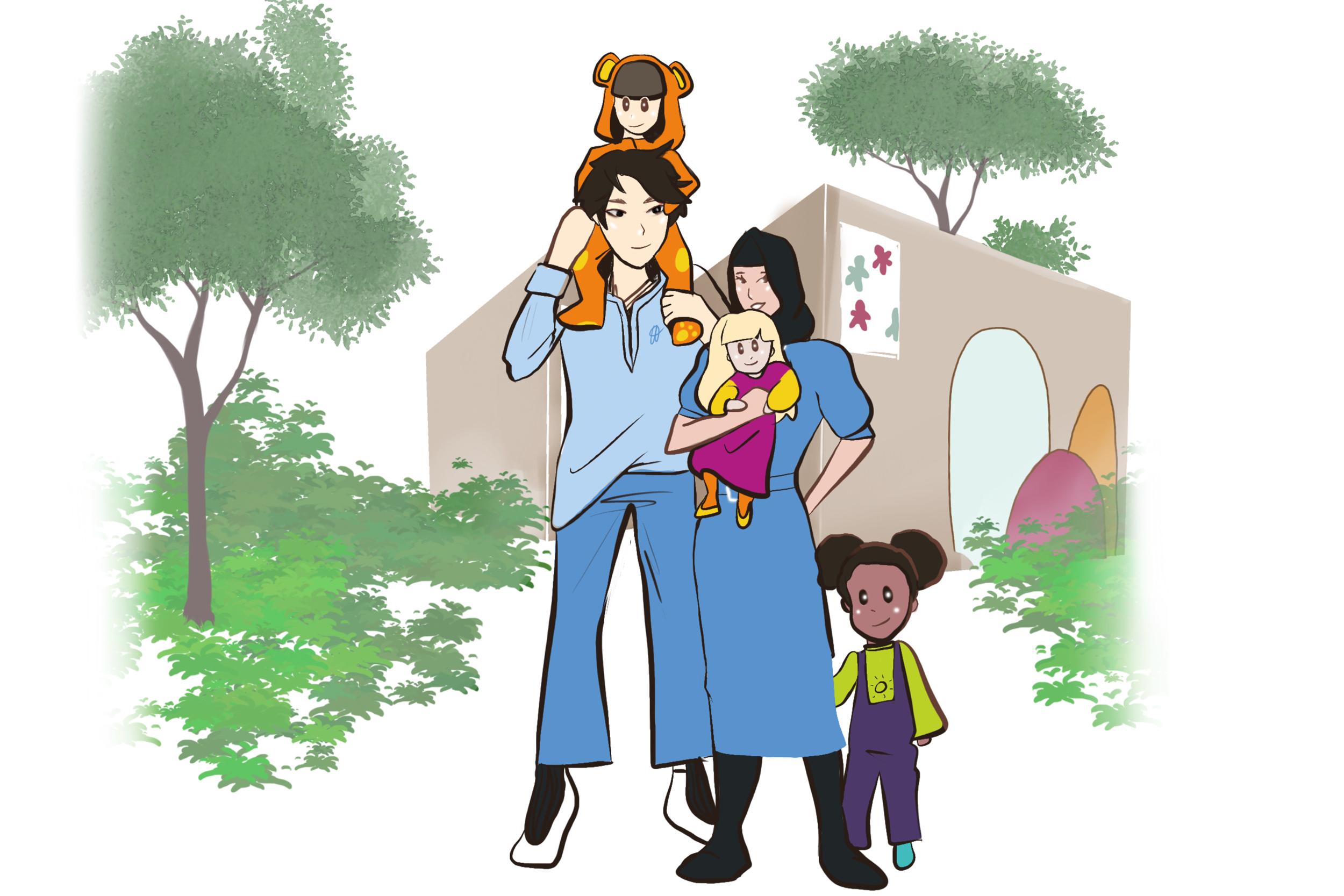 Illustrasjon av barnehageansatte og barnehagebarn foran en barnehage