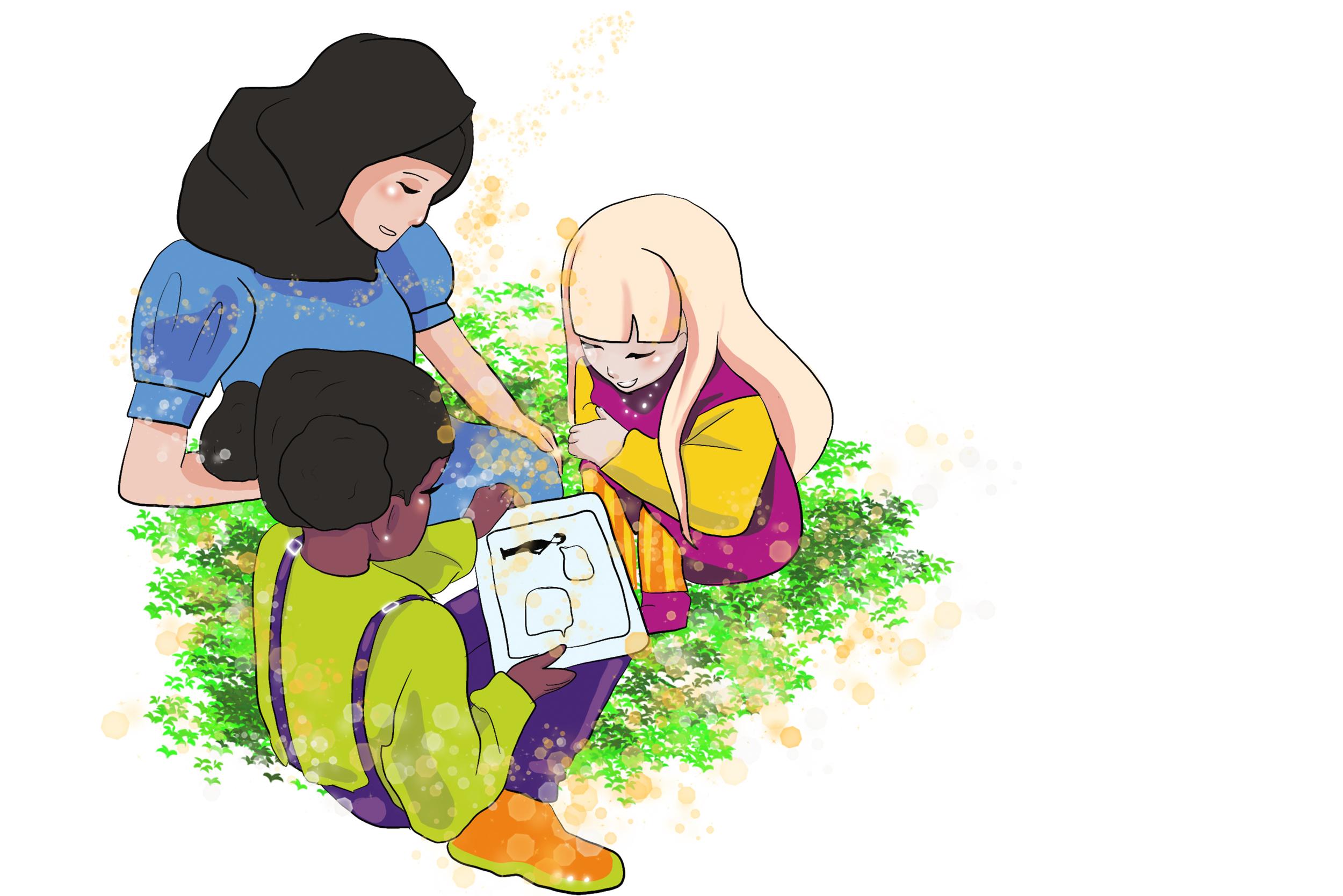 Illustrasjon av. en voksen og to barn som animerer på en iPad