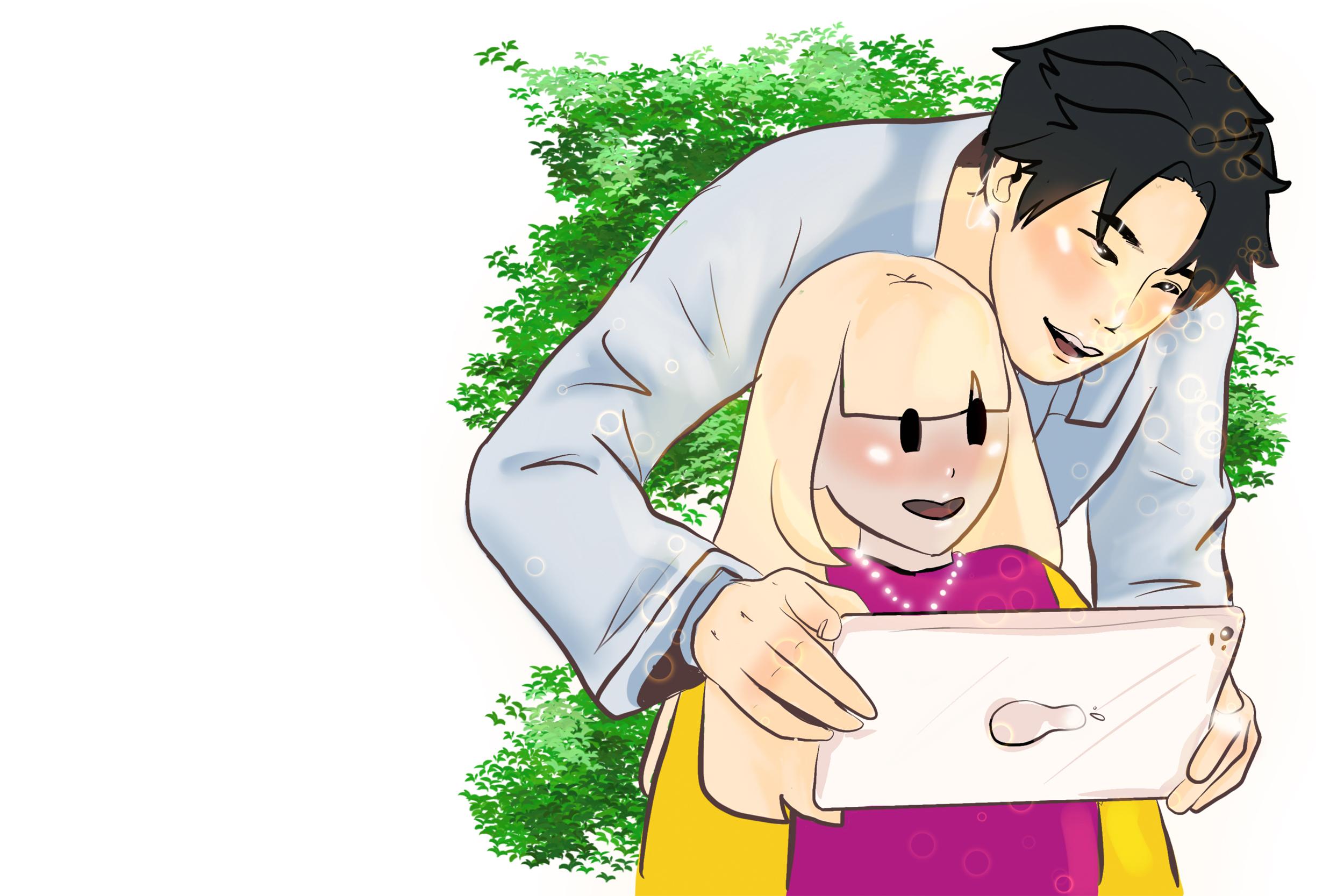 Illustrasjon som viser en voksen og et barnehagebarn med iPad i skogen