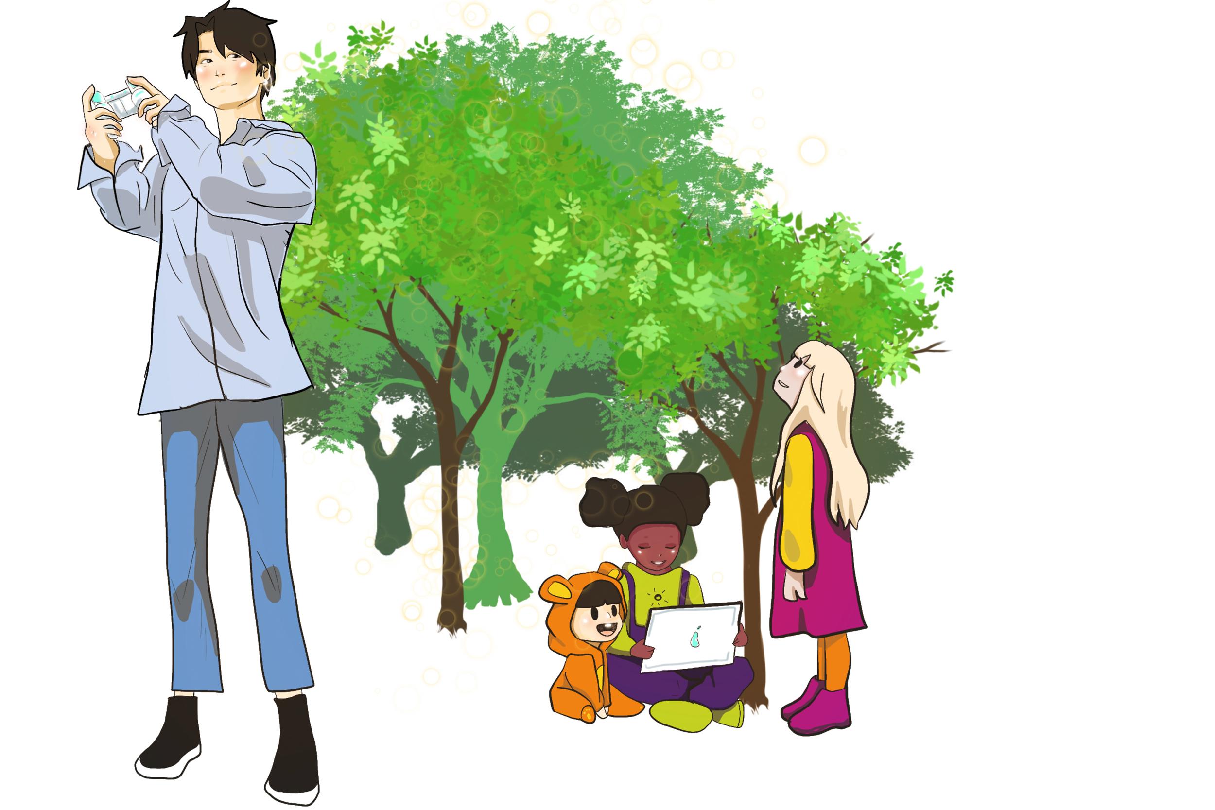 Illustrasjon av barnehageansatte og barnehagebarn som tester ut digitale verktøy