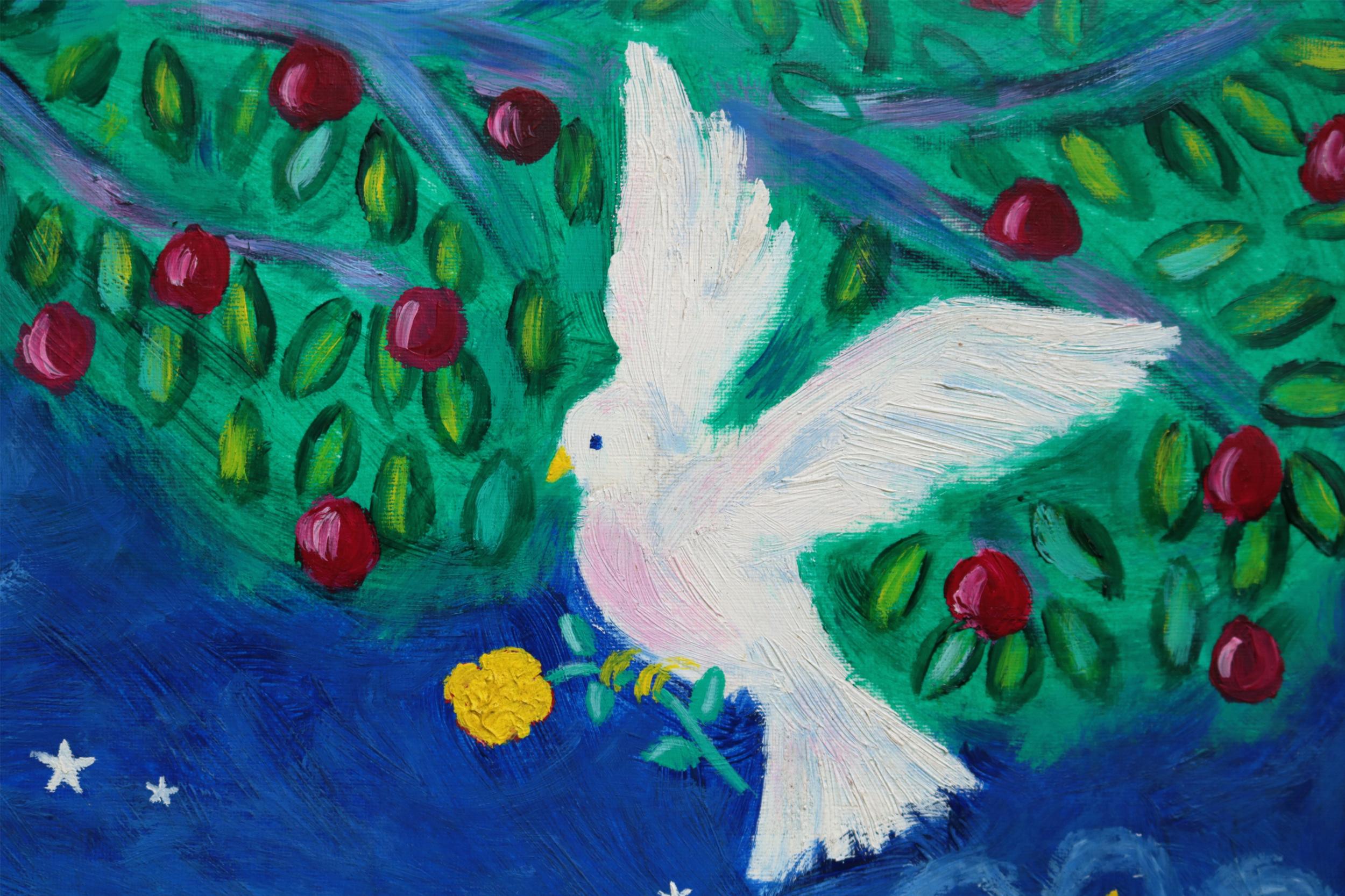 Illustrasjonsbilde av en hvit due som er malt
