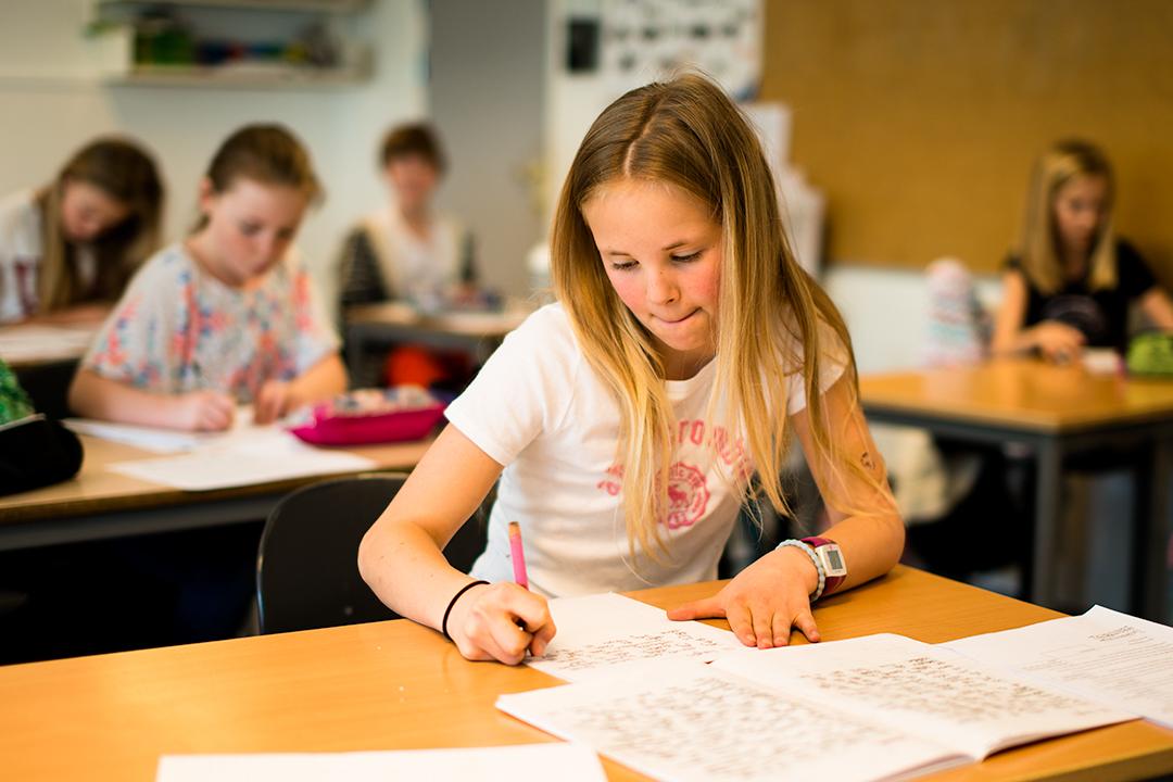 Barneskoleelev som skriver for hånd