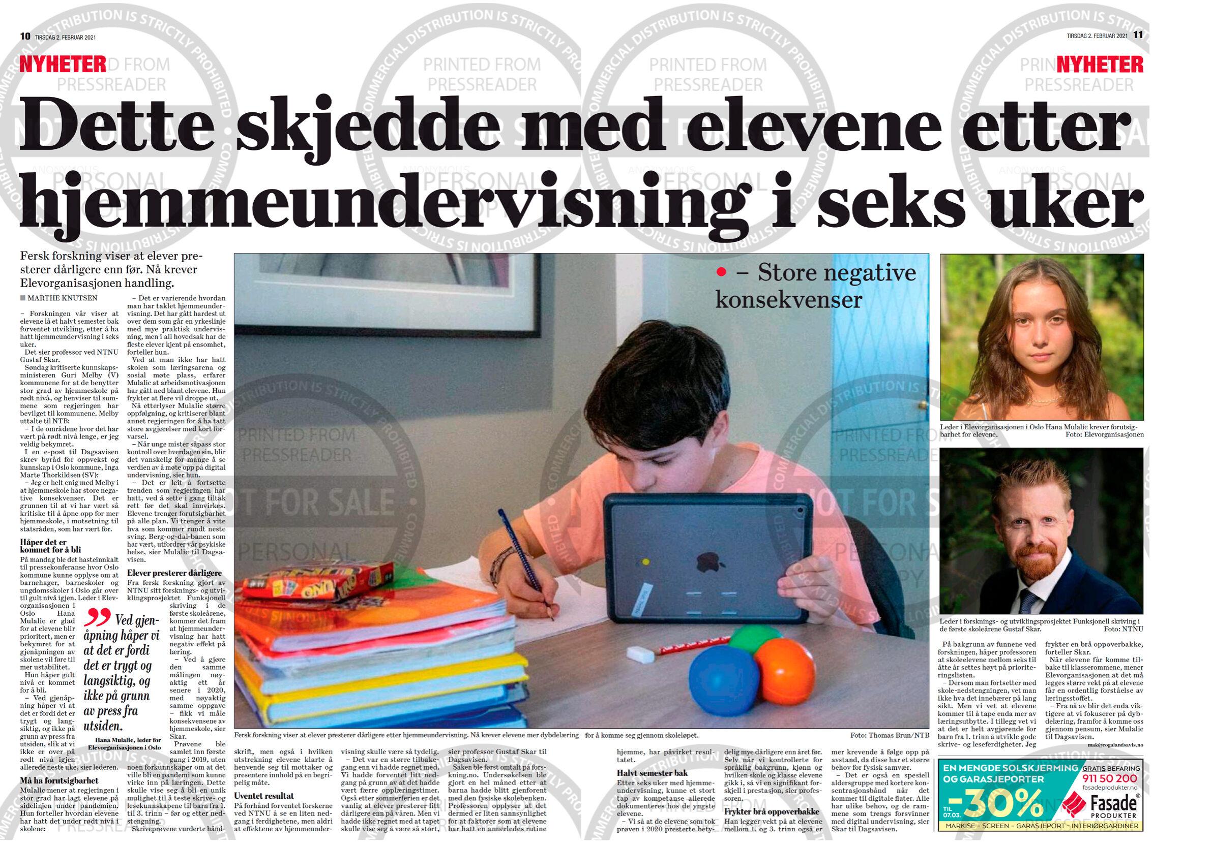 Skjermdump fra Dagsavisen